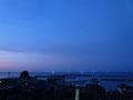 朝茂川温泉からの夕景。漁り火が見えます。