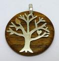 Lebensbaum in Silber auf abnehmbarer Holzscheibe. Blatt in Gelbgold