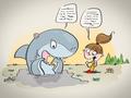 Illustrationen für das Kinderbuch Anna und der Pfützenhai - Anna und Hainer lernen sich kennen und erfahren viel über Ihre Zähne