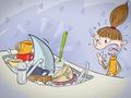 Illustrationen für das Kinderbuch Anna und der Pfützenhai - Der Hai im Waschbecken