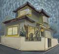 星の上の実家 110×120.5㎝ 油絵の具・木製パネルに紙