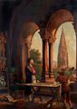 """Alex. Adam, geb. 1825, aufgenommen in der Loge """"Zur edlen Aussicht"""", Ölgemälde von seiner Hand. Erwin von Steinbach und seine Tochter Sabina, am Bauriss für das Straßburger Münster, auf den Freiburger Dom schauend, eine Allegorie auf den Namen der Loge."""