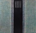 o.T. 2017, Acryl / Baumwolle, Wollstoff mit Biesen und Einschnitten, 110 x 120 cm