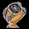 Wappenring (Gremlin) in Rotgold mit Weissgold Skorpion-Motiv in figürlicher. dreidimensionaler Ausarbeitung auf schwarzem Grund