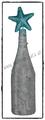 Deko-Flasche Hellblau mit Goldfäden