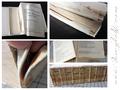 Vom Einband abgelöster Buchblock - lose und beschädigte Seiten - abgetrenntes Vorsatzpapier - zu kurzes Kapitalband, dafür zwei.