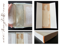 Kapitale, Heftgaze u. Rückeneinlage entfernen - Rückeneinlage, Buchdeckel u. Einbandmaterial neu verbinden - Wiederherstellung des Buchblockes - lose Seiten befestigen, beschädigte Seite reparieren, Vorsatzpapier, Heftgaze u. Kapitalband ersetzen.