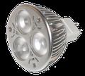 LED Birne, Sockel MR 16, in der 3 Watt Version. Mittlerweile gibt es dieses Modell bis 9 Watt.