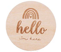 Carte en bois repère de naissance 'Hello I'm here'
