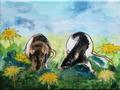 """De ratten"" 2018, acryl en inkt op linnen, 18x24cm VERKOCHT"