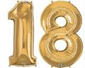 balony z helem cyfra 18 zlota