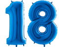 balony z helem cyfra 18 niebieska