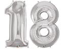 balony z helem cyfra 18 srebrna