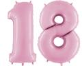 balony z helem cyfra 18 różowa