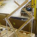 Fertig verschliffene Holzprofile mit Glasgewebe überzogen