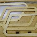 Der Holzrahmen wir aus 4 Einzelteilen hergestellt