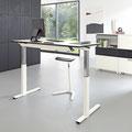 14 Sitz- Steharbeitsplatz, Gestellfarbe weiß Struktur , außerdem in anthrazit Struktur, schwarz Struktur und weißaluminium erhältlich