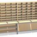 S44 Sortierregal mit Ablage-Auszügen, hier im Sonderdekor Buche, Unterschrank offen und daneben mit Türen verschließbar