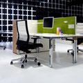 16 Füße Quadratrohr Chrom Glanz, Multicontainer als Trennelement zwischen den Arbeitsplätzen