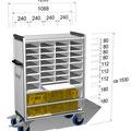 23 FVTF23 Fahrverteiler F mit Auszugplatte und Beispiel-Maße, diese Maße sind nicht festgeschrieben- können also individuell festgelegt werden