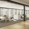 16 Großraumbüro mit Arbeitsplatzkombinationen und trennende Schrankelemente