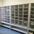 SF2 Schließfachanlage, unterschiedlich hohe Fächer, die Fachhöhen können individuell geplant und produziert werden