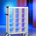 FVTF2 Fahrverteiler F mit 12 Plexiböden für 15 Fächer, die Böden sind höhenverstellbar, Gesamtmaße BTH 1028x467x1200-1600 mm (nach Kundenwunsch)