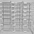 01 Korb-Tischsortierregal, 2-6-reihig, Körbe höhenverstellbar und entnehmbar, Korbhöhen 60/115/185 mm, verchromt oder lichtgrau