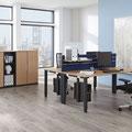 21 Vierfuß-Rechteckrohr-Doppelarbeitsplatz mit Trennwand-Tischaufsatz (Sicht- und Schallschutz), CPU-Halter und vertikalem Kabelkanal