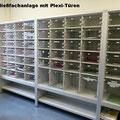 S4 Schließfachregal mit transparenten Plexitüren, Türen auch in Ausführung satiniertes Plexiglas oder in Holz, einzeln verschließbar, Zentralschlüssel möglich