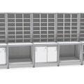 S56 Sortieranlage mit 5 3-reihigen Sortierelementen, Unterschränke teilweise offen