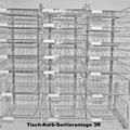 S13 Drahtkorb-Tischsortierregal, 3-reihig, frei stehend, 2-6-reihige Varianten in 3 Gesamthöhen, individuell bestückbar, Sortierkörbe 60/115/185 mm hoch