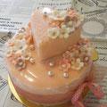 ピンク+ハート+小花 フェミニンケーキ