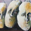 """Drei Masken""  60x70cm  Acryl auf Leinwand"