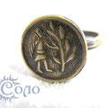 """Кольцо-перстень """"Ангел"""" (точная копия) - 750 руб. Перстень с круглым щитком с изображением ангела, сажающего дерево. Покровительство высших сил в любом начинании и обреченность на успех. Диаметр 1,5 см. Литье"""