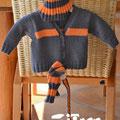 """Babyjäckchen """"Paul"""" und Accessoires - Design: Andrea Macha - Garnverbrauch Gr. 56/62 = 200g grau + 50g orange"""