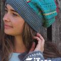 Mütze im Mustermix - Entwurf Jutta Bücker - Garnverbrauch: 4 Farben je 1 Knäuel