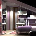 Cameretta in mansarda - letto e area studio