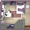 Cameretta in mansarda - piantina 3D