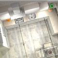 Cucina in mansarda - composizione angolare