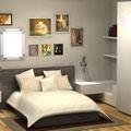 Camera da letto con cassetti a sbalzo
