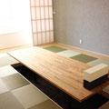 縁なし畳(畳を市松に敷いているので色が違って見えます)