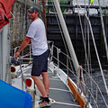 Handling the strong undercurrent with thick ropes over blocks to the winches - relaxed climbing