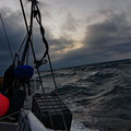 Therefore, the waves are growing - our last photo before it got realy nasty (steep waves above the level of the wind generator)