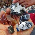 Coloured stones on the beach