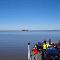 Crossing the Elbe river by ferry