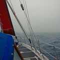 Nearing the Norwegian coast and heading into dense fog - navigation by radar and GPS only