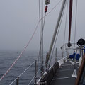 As soon the as the wind died down, thick fog again. Navigation by radar and giving sound signals