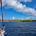 Entering the natural harbour of Inishbofin