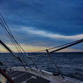 Night sailing with strong winds to the Orkney Islands